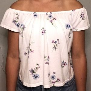 floral flowy off the shoulder top from garage